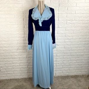 Vintage Royal Blue and Baby Blue Cottagecore Dress